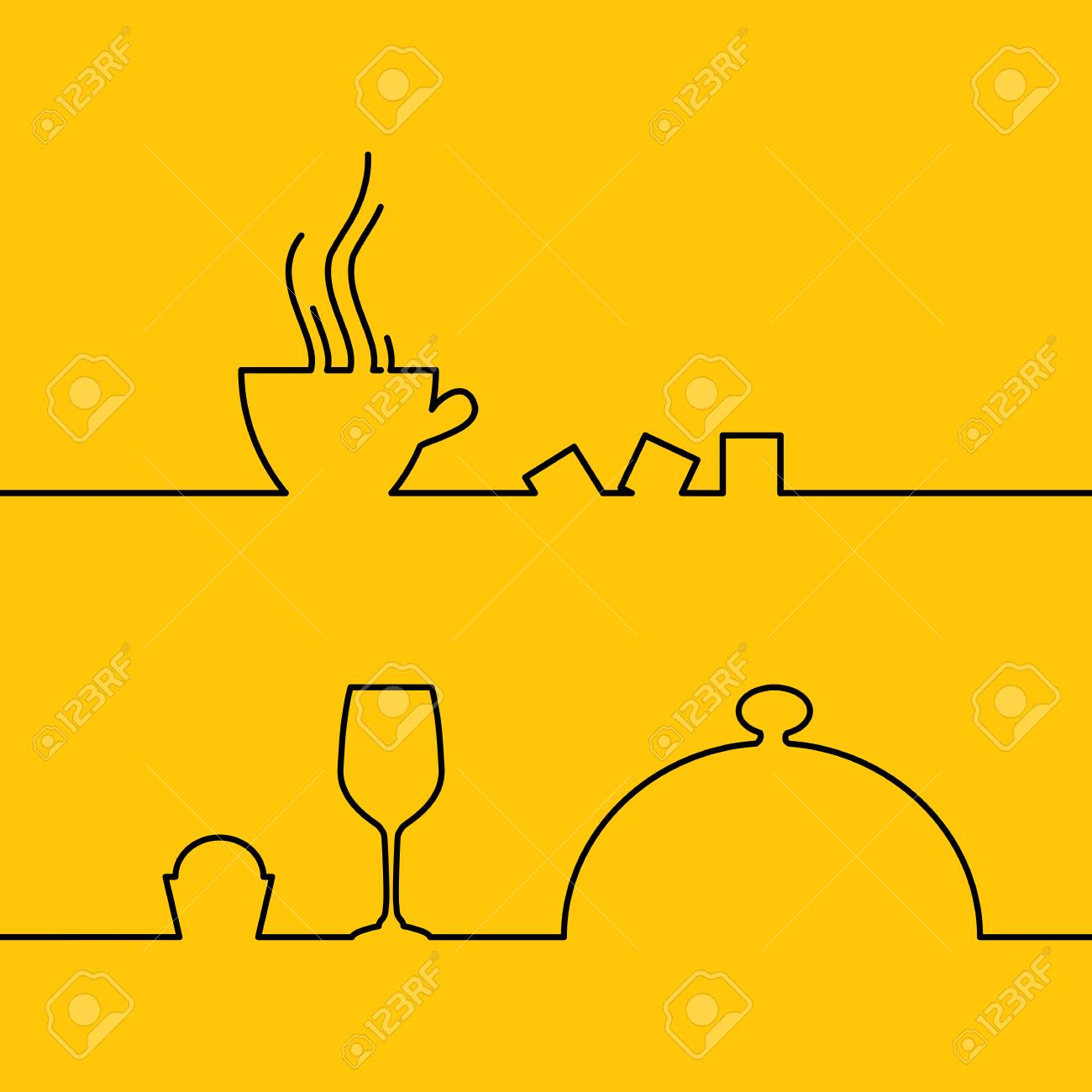 line design of coffee cup icon illustration template design