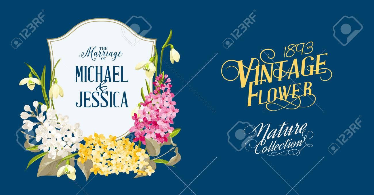 Marco Del Resorte Flores Syringa Para El Diseño Romántico. Flores ...