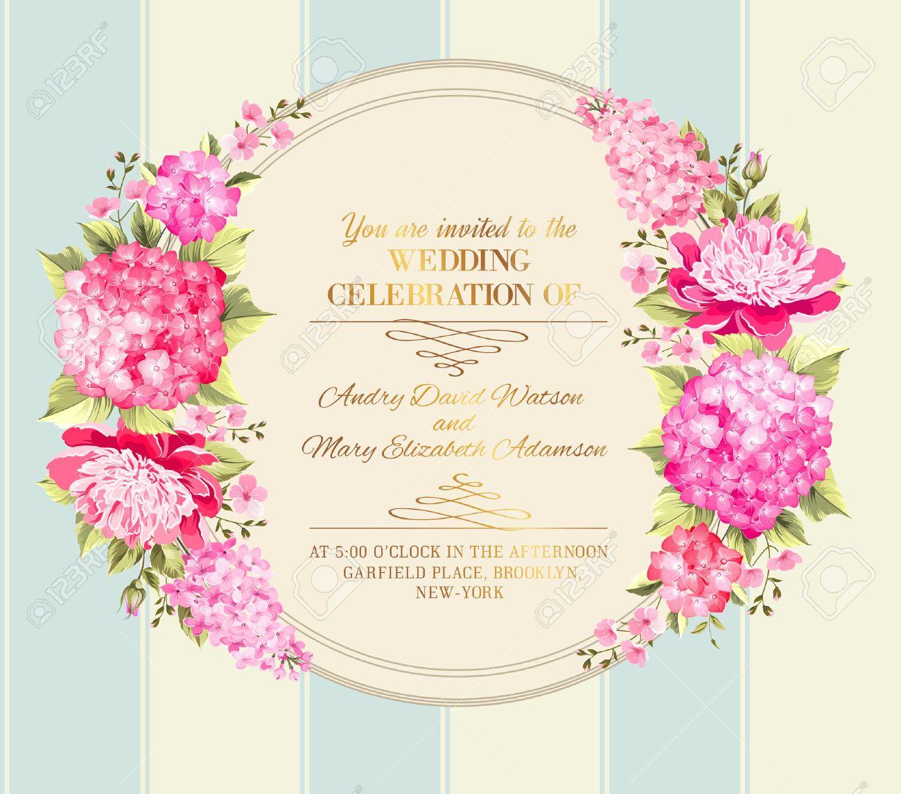 Mariage Carton D Invitation Avec Des Fleurs Roses Vintage Modele De Carte D Invitation De Mariage Avec Garcons Et Filles Des Noms Et Des Guirlandes De Fleurs Vector Illustration Clip Art Libres De Droits