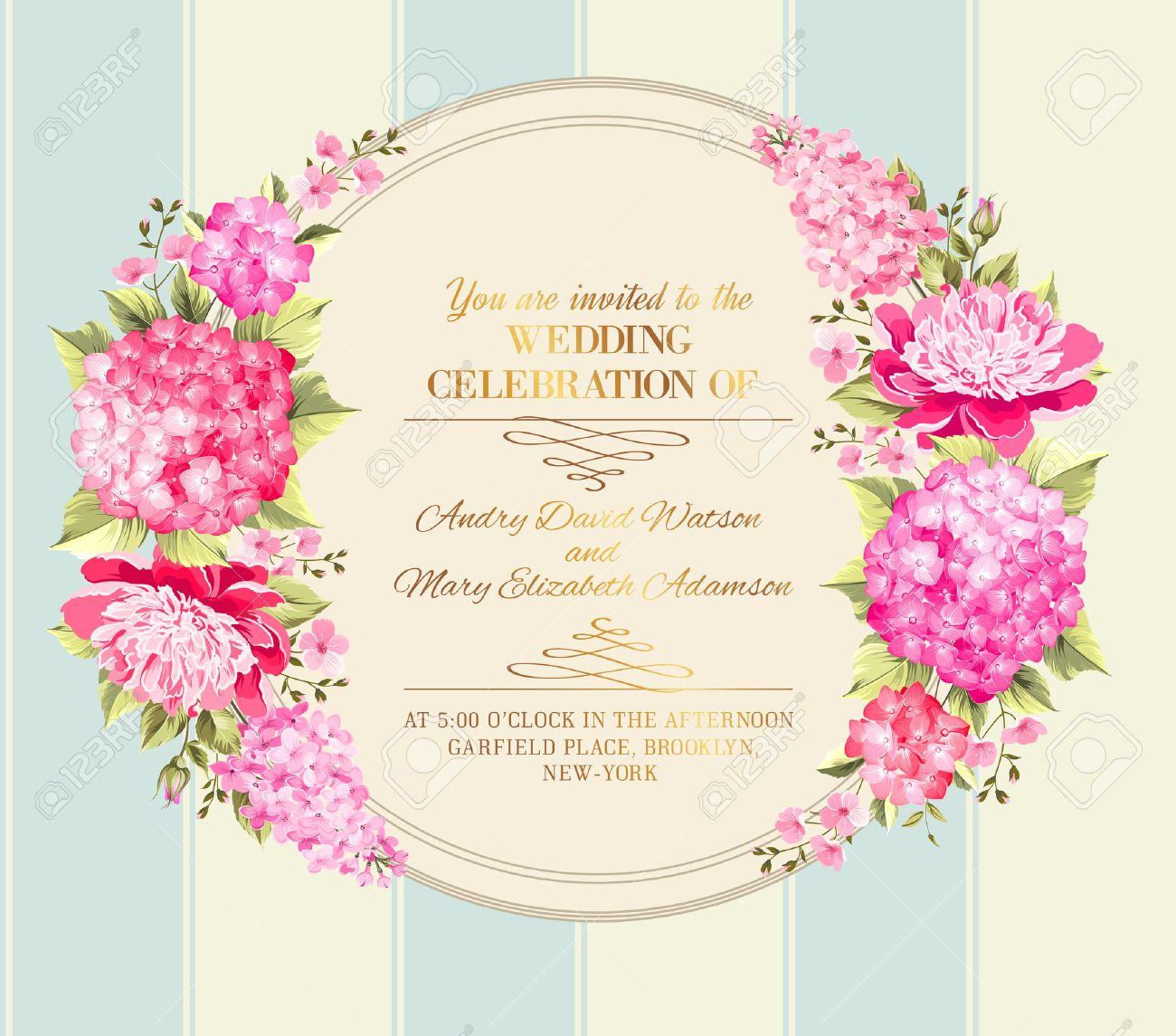 Wedding Invitation Card With Pink Flowers. Vintage Wedding ...