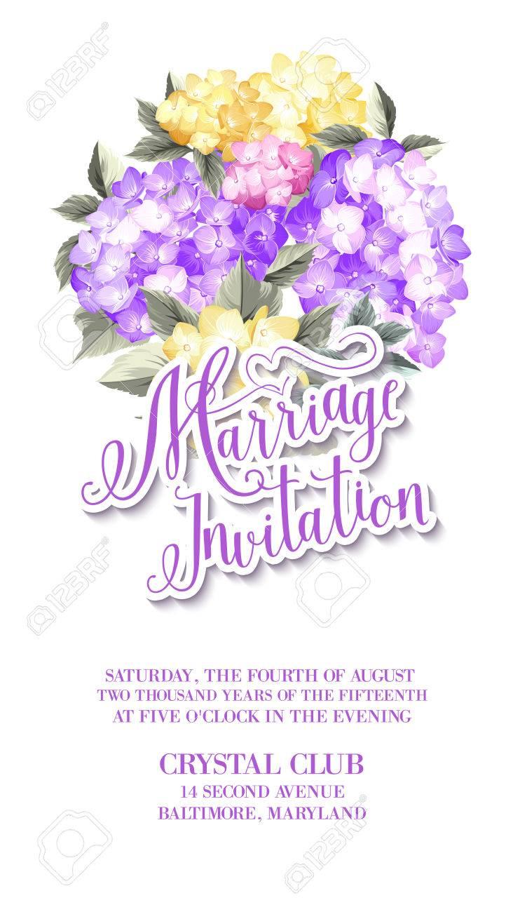 Einladungskarte Vorlage Mit Blühenden Hortensien Und Textgruppe Heirat  Einladung über Sie. Blaue Blumen