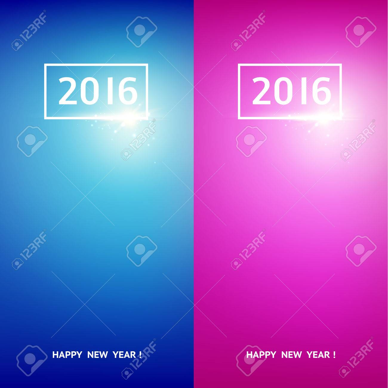 Happy New Year Card Greeting Card Design Template Set Merry