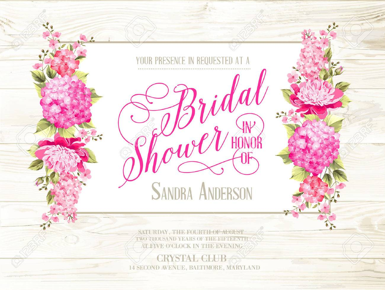Bridal Shower Invitation With Ivory Label On Wooden Pattern ...