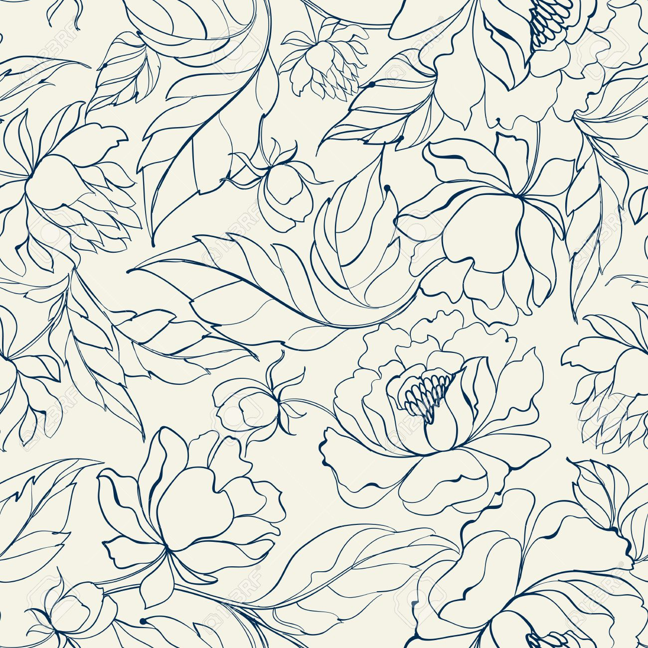 Seamless Floral Pattern With Peony Luxurious Peony Wallpaper