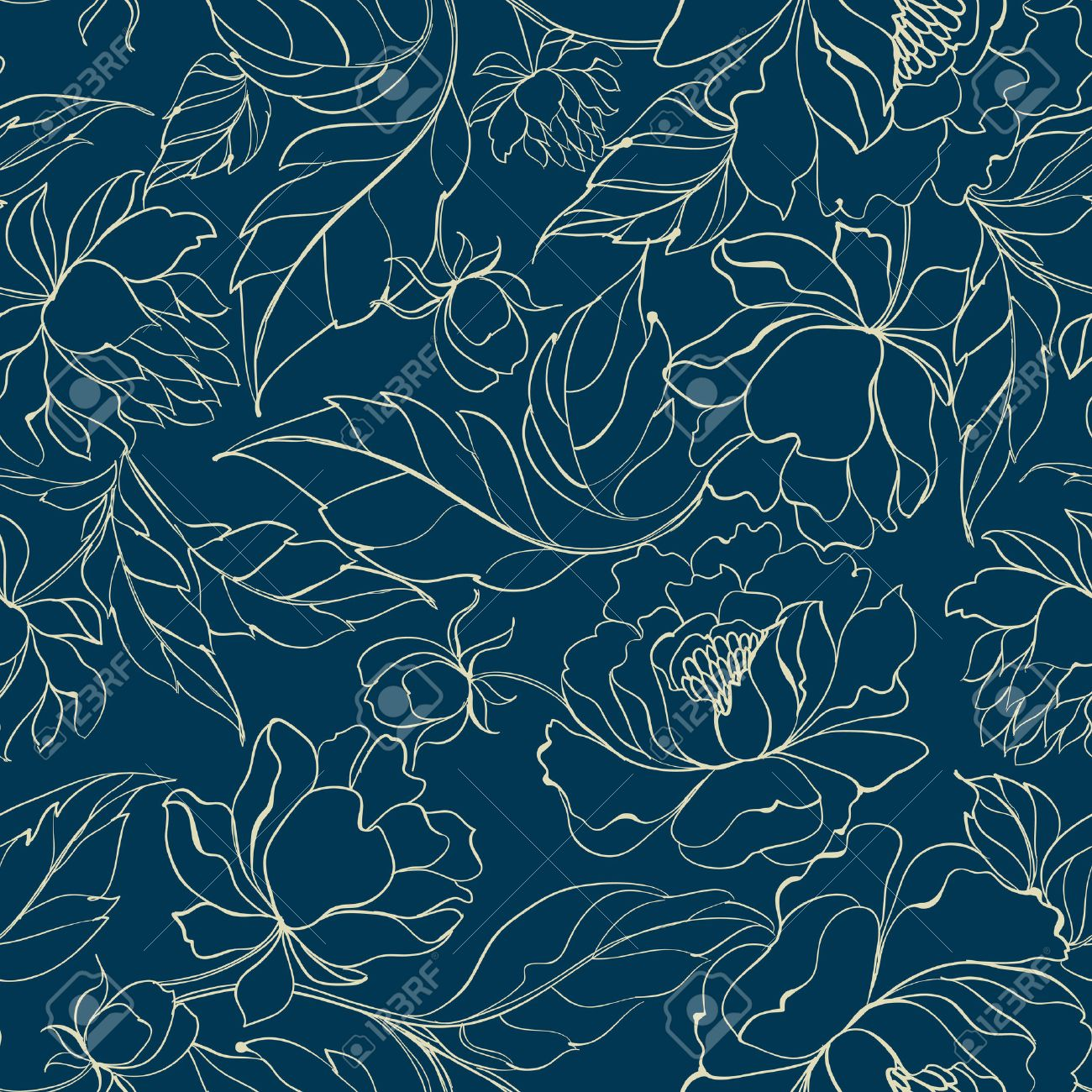 Seamless Floral Pattern With Peony Luxurious Wallpaper In Vintage Style On