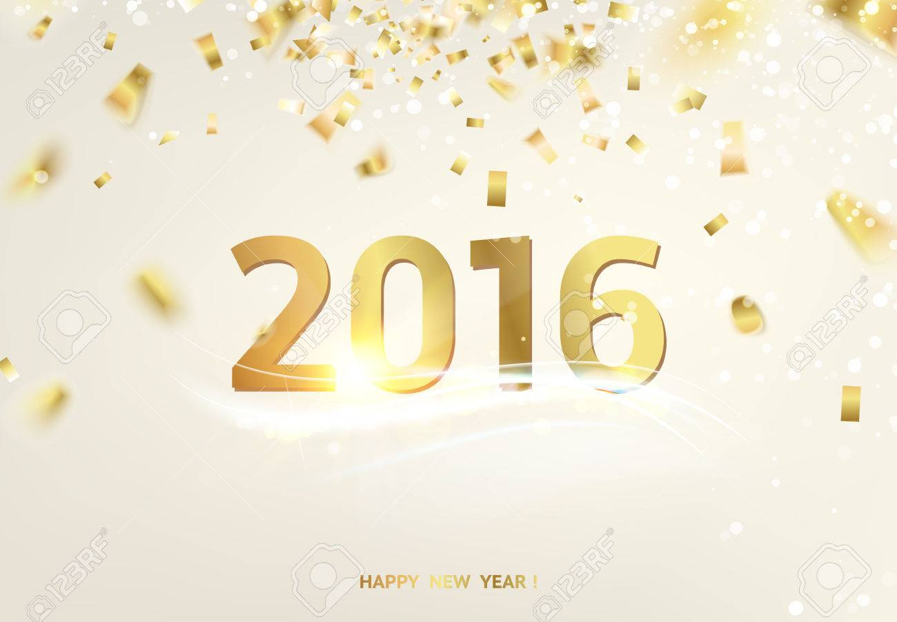 Happy New Year Card Over Gray Background With Golden Sparks. Royalty ...
