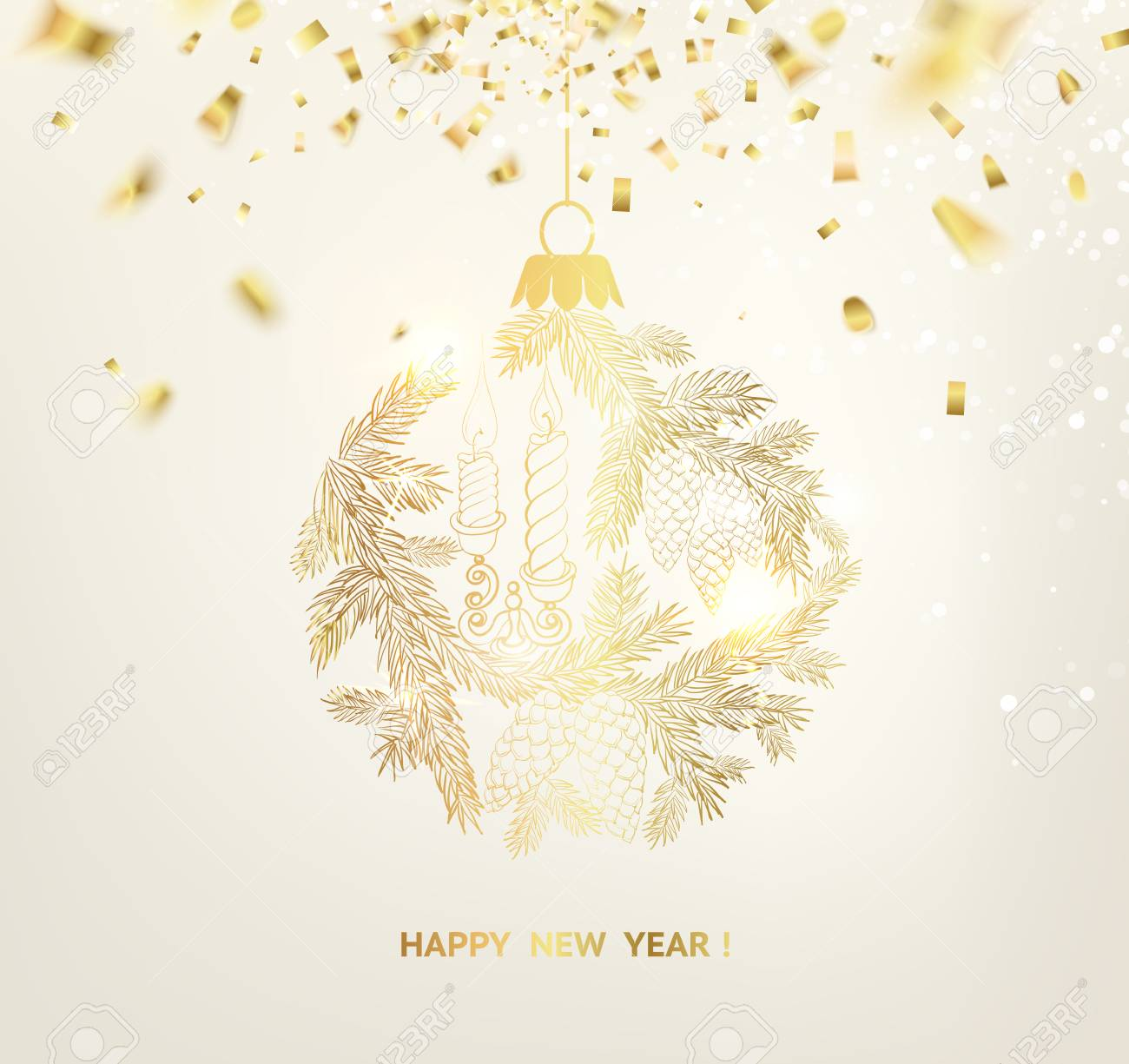 christmas card design happy new year invitation card with template text stock vector