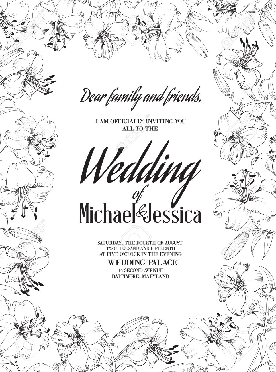 wedding card lily flowers invitation card template vector wedding card lily flowers invitation card template white blooming lily and text wedding invitation over them vector illustration