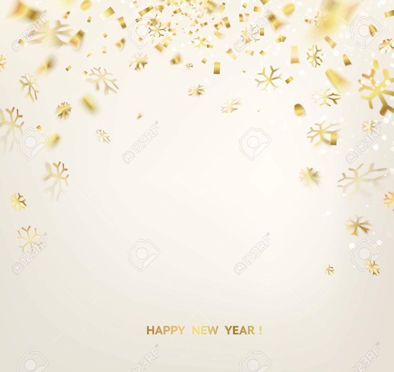 happy new year card template over gray background with golden
