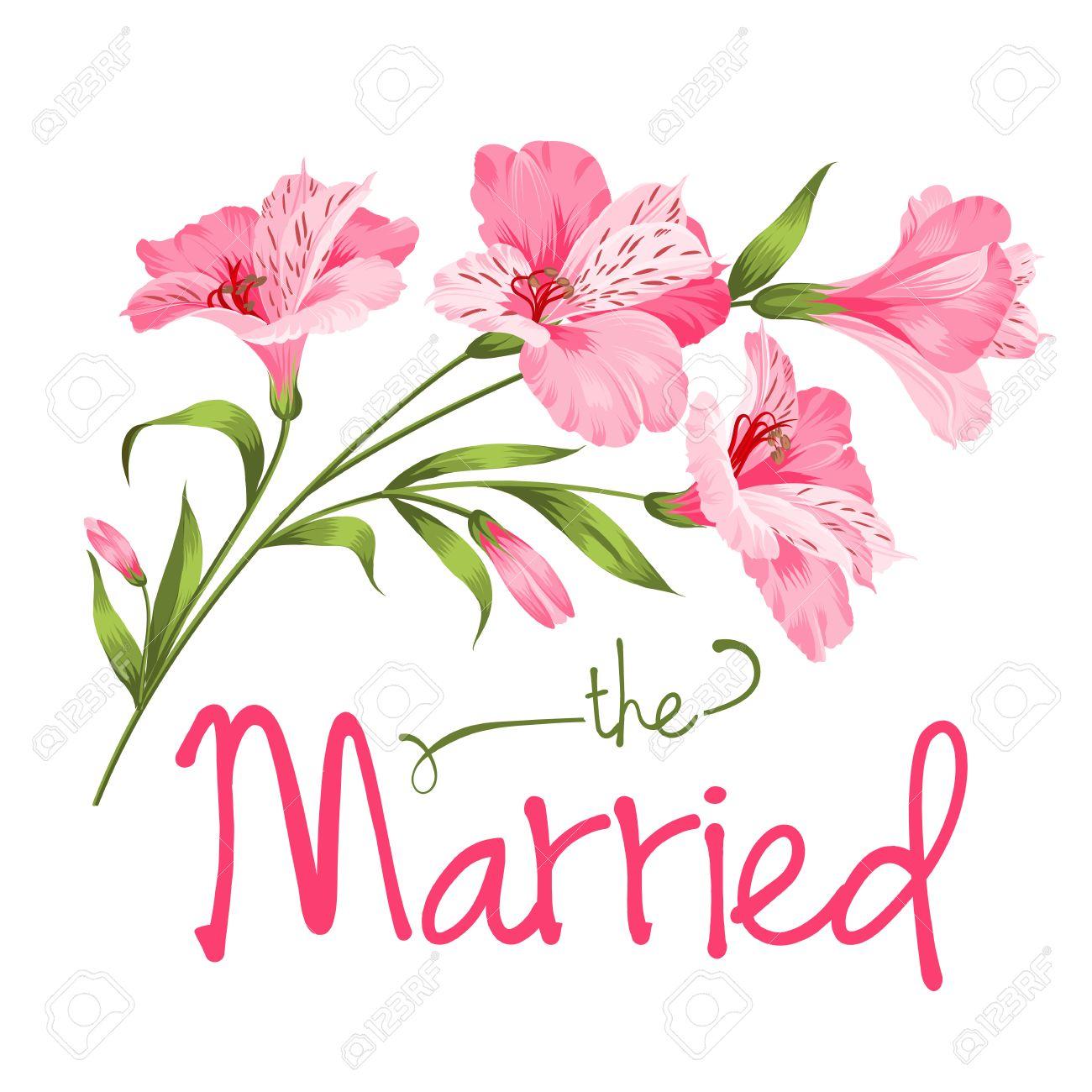 Der Verheiratete Karte. Hochzeit Vorlage. Alstromeria Rosa Zweig ...
