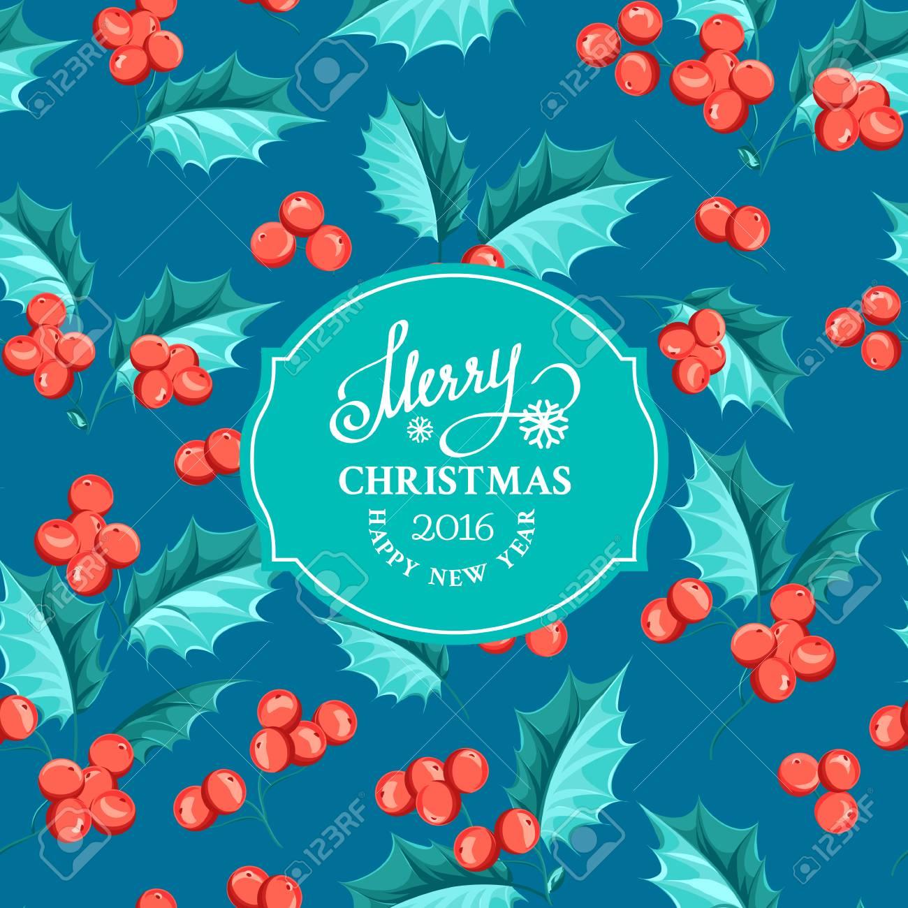 Weihnachten Mistel Urlaub Karte Mit Text. Frohes Neues Jahr 2016 ...