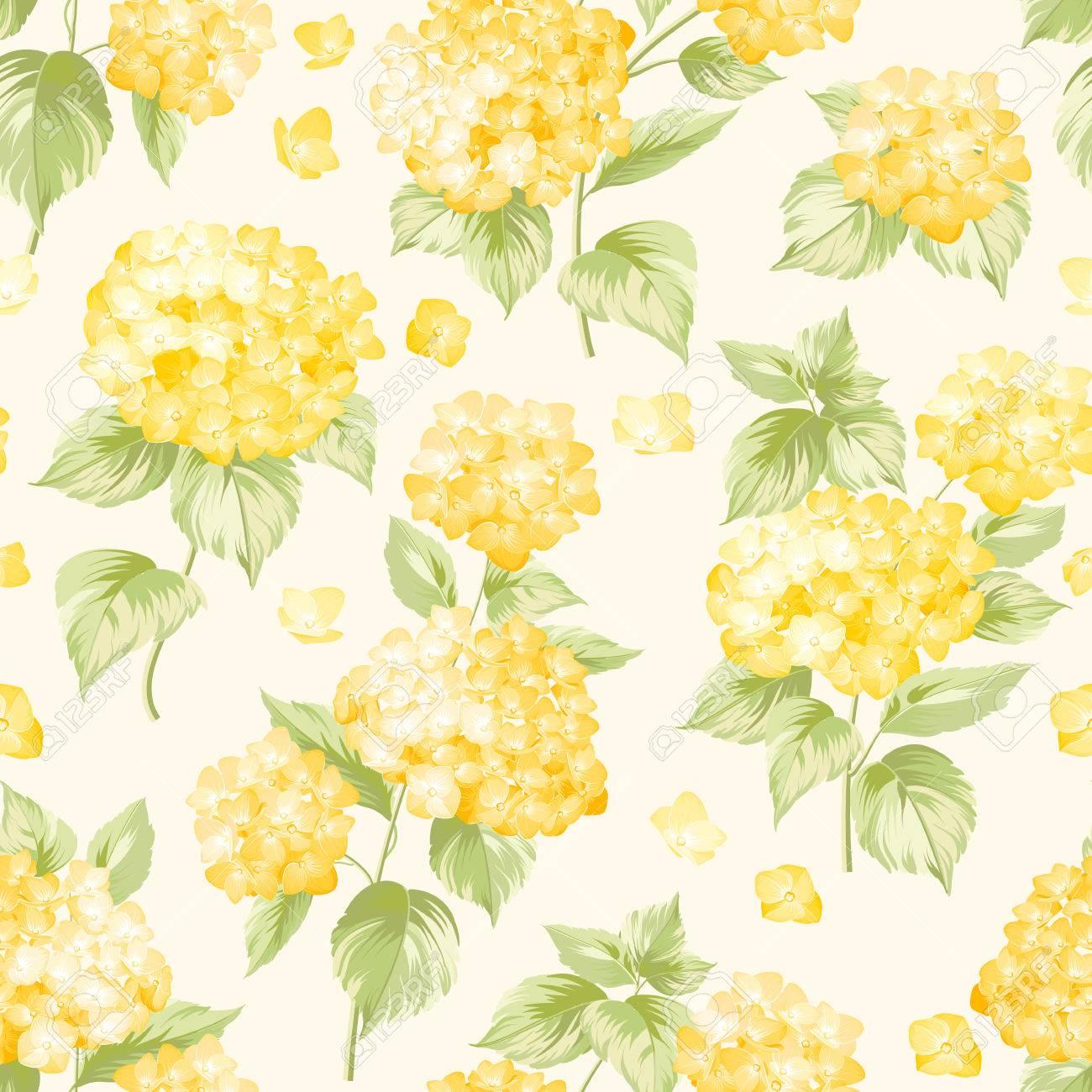 Flower pattern of yellow hydrangea flowers seamless texture flower pattern of yellow hydrangea flowers seamless texture yellow flowers vector illustration mightylinksfo