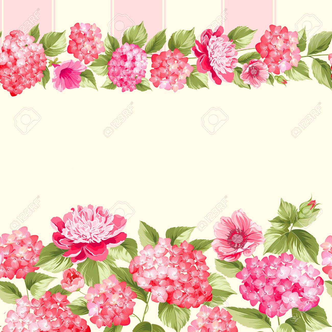pink flower border with tile. elegant vintage card design. roses