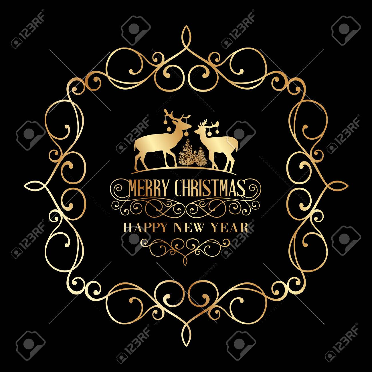 the christmas postcard with deers and damask frame over black background vector illustration stock