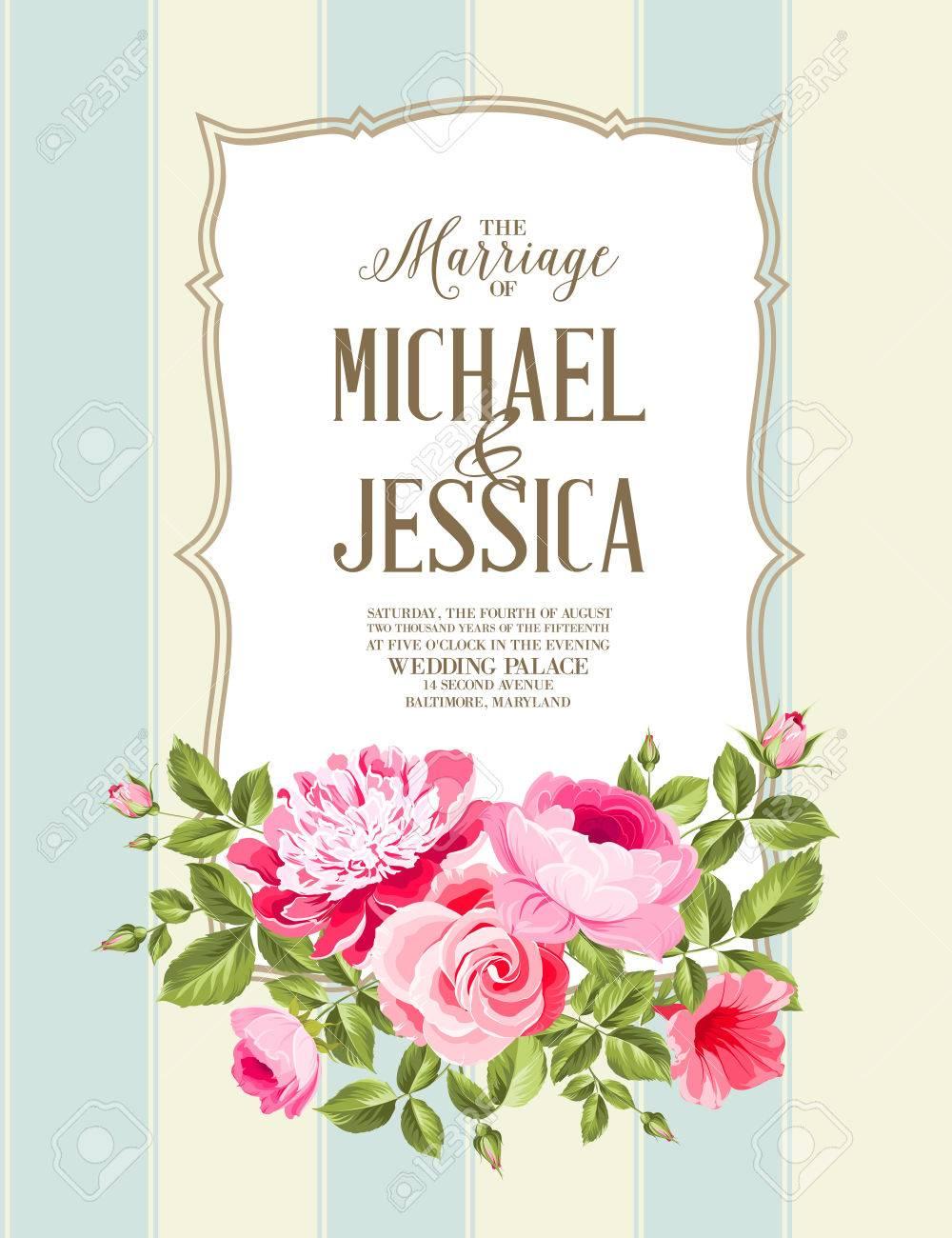 Hochzeits-Karte Und Verlobungsmitteilung. Hochzeit Von Michael Und ...