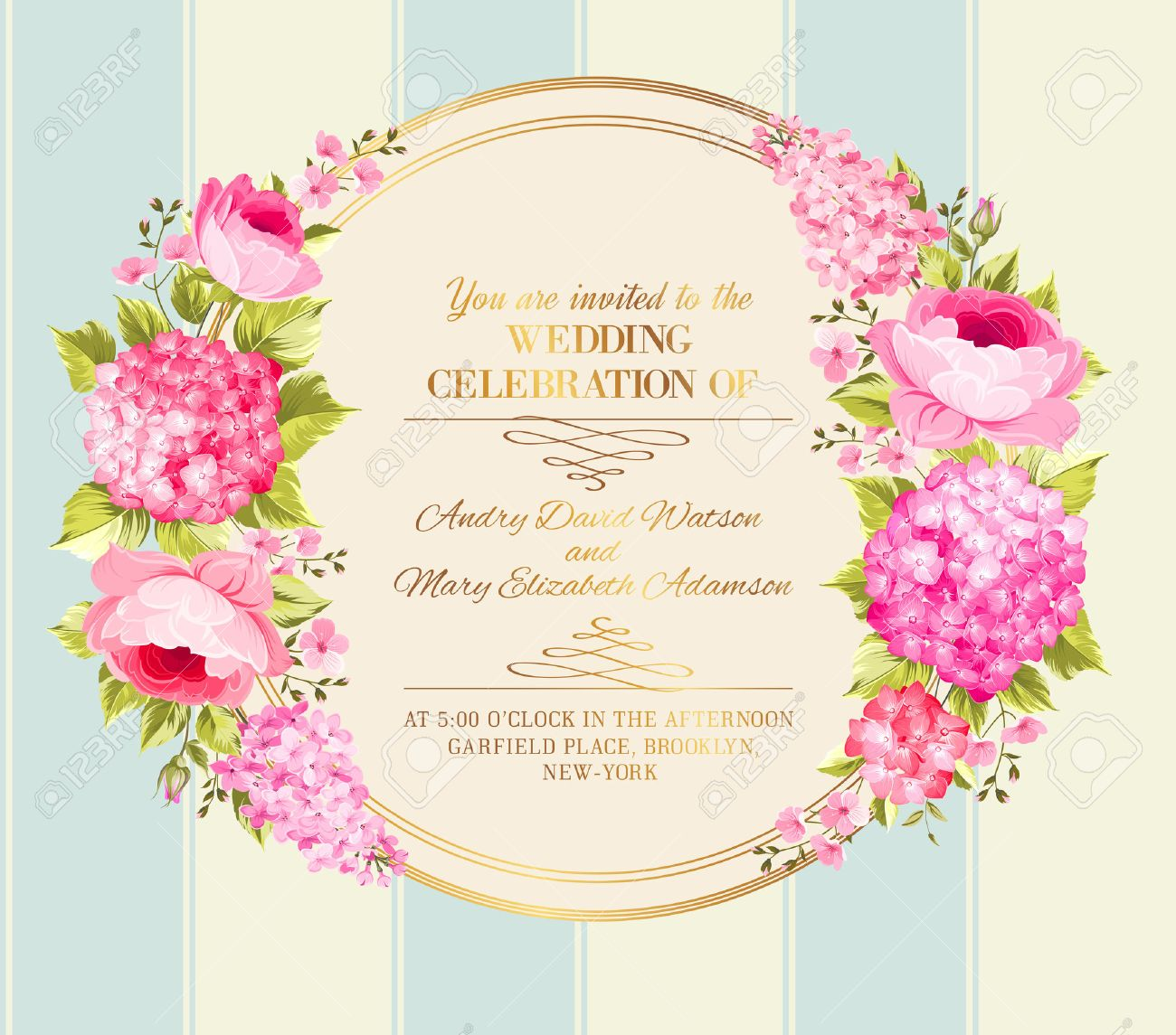 Awesome vintage label of color flowers wedding invitation card awesome vintage label of color flowers wedding invitation card of color flowers vector illustration stopboris Images