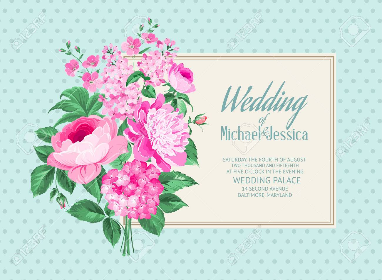 Awesome Vintage Label Of Color Flowers. Wedding Card And Engagement ...