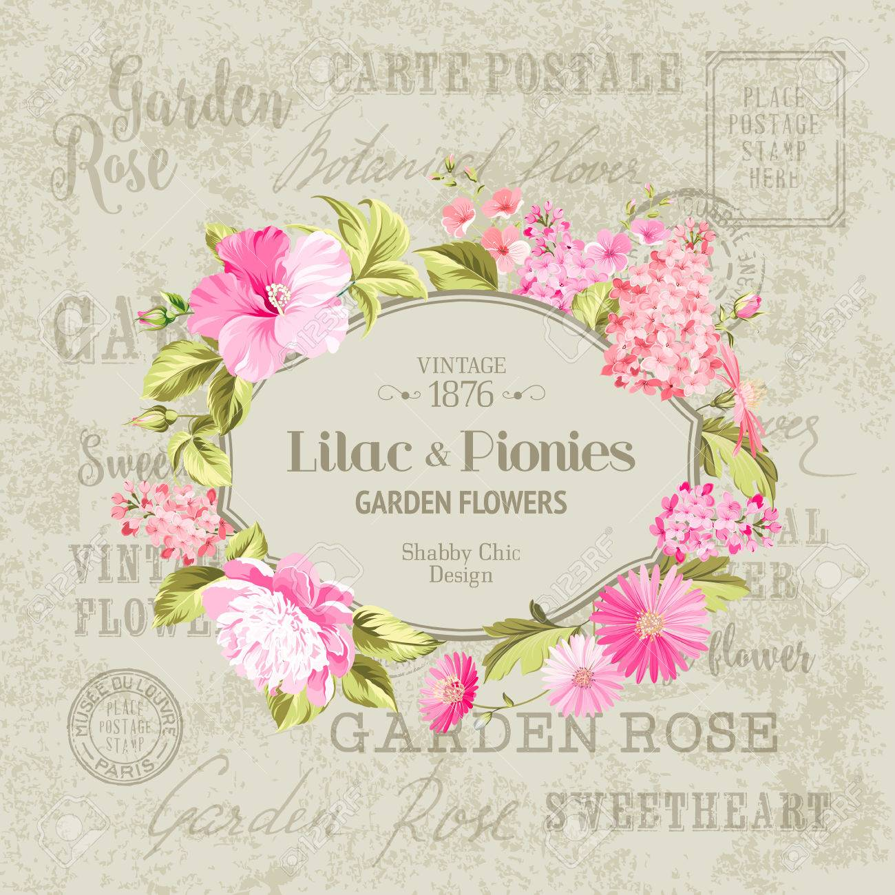 Awesome Vintage Label Of Color Flowers. Wedding Invitation Card ...