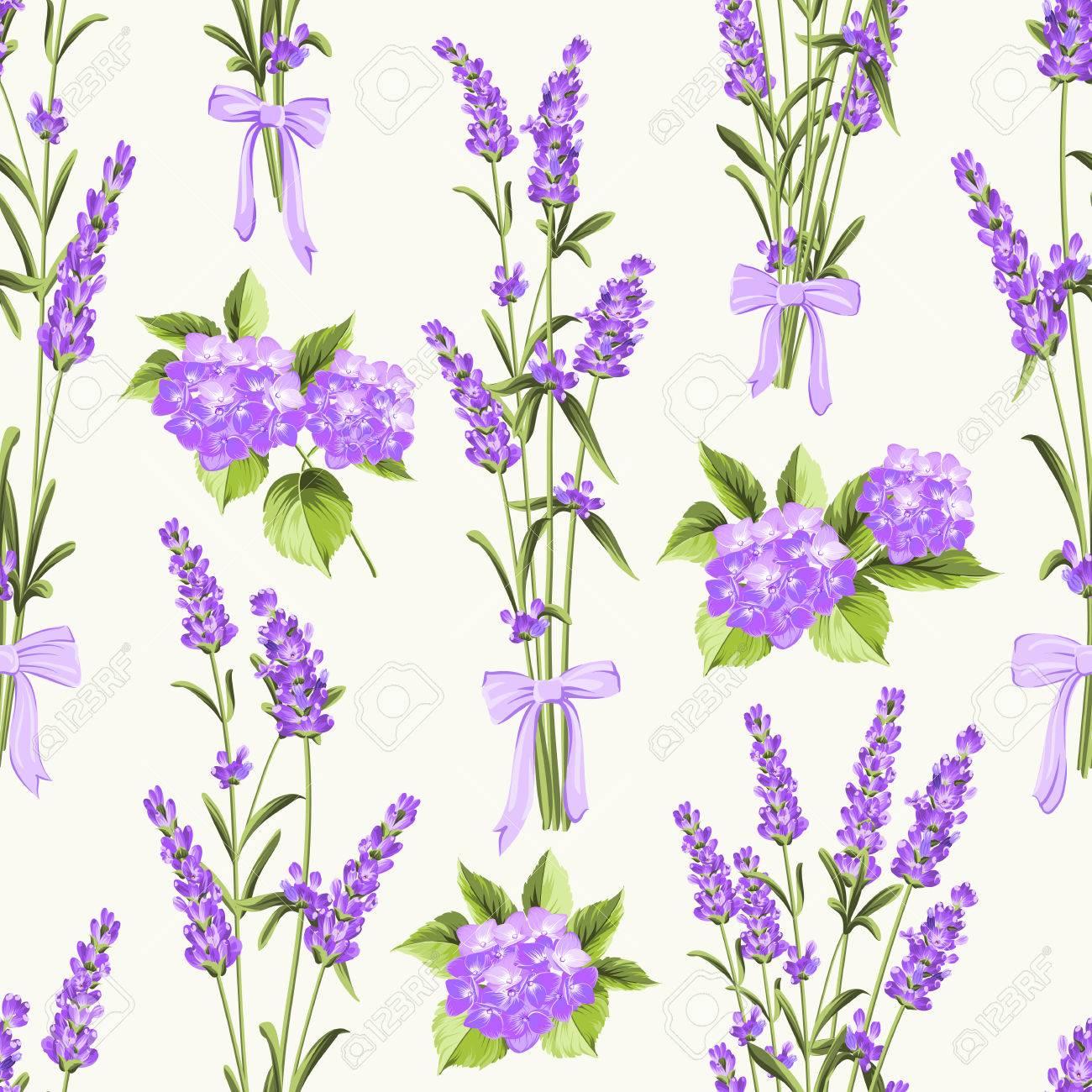 Sin Patron De Lavanda Y Hortensias Flor Purpura Flores Sobre Un