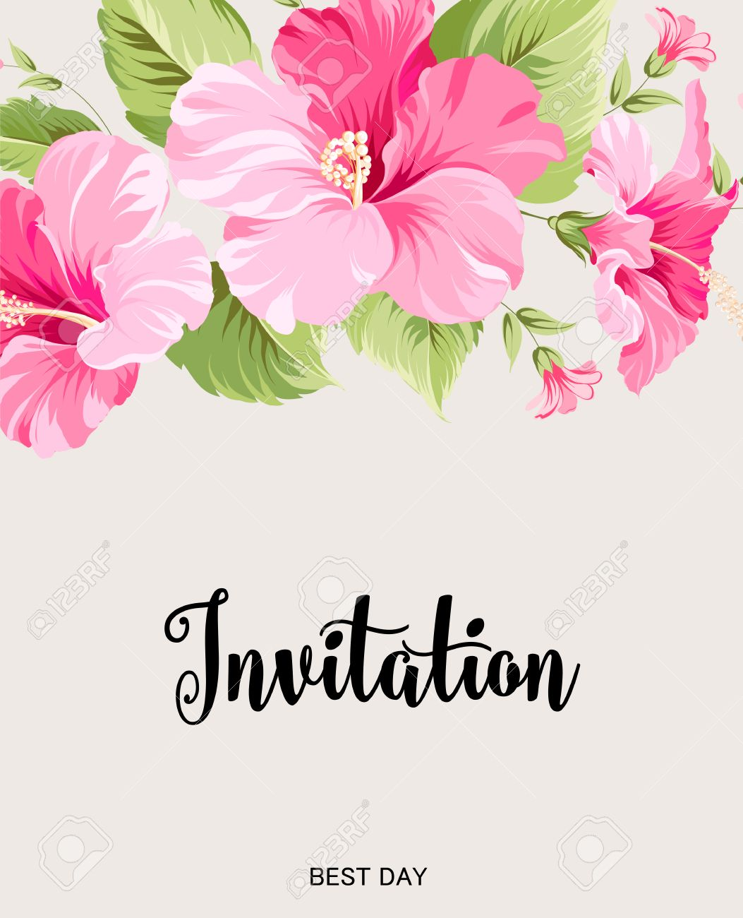 Flower garland for invitation card invitation card template flower garland for invitation card invitation card template with blooming flowers and custom text isolated mightylinksfo