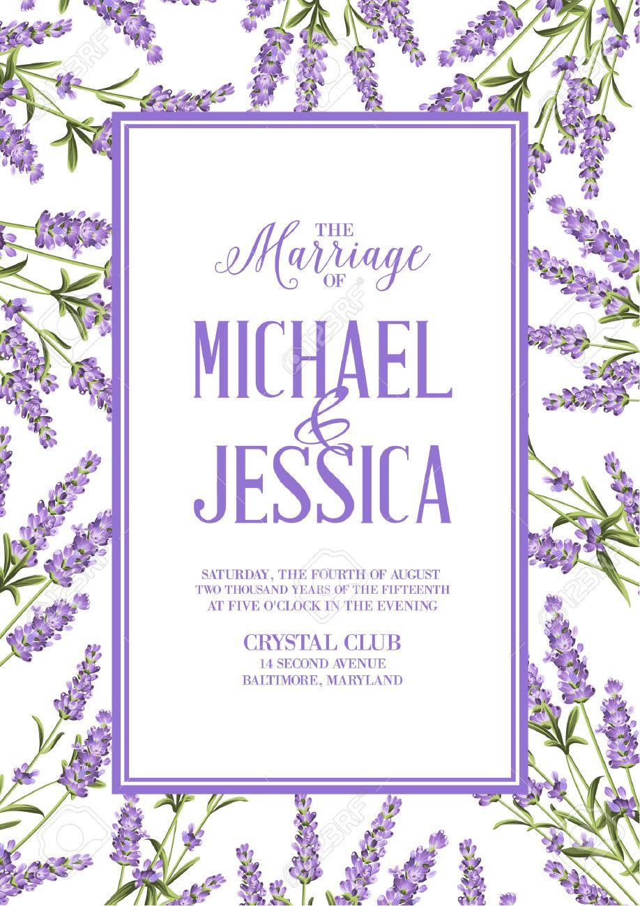 Heirat Einladungskarte Mit Benutzerdefinierten Zeichen Und Blumenfeld.  Lavendel Rahmen Für Provence Karte. Druck