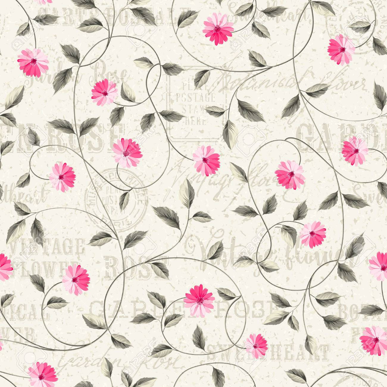 Wallpaper Texture Seamless Floral Background Shabby Chic Style