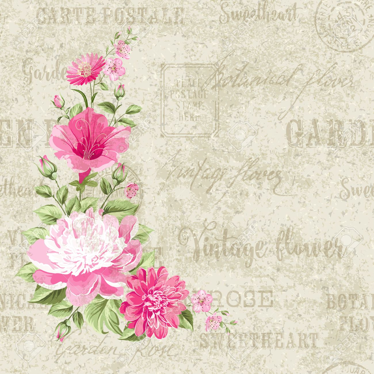 Flower Garland For Invitation Card Card Template With Blooming