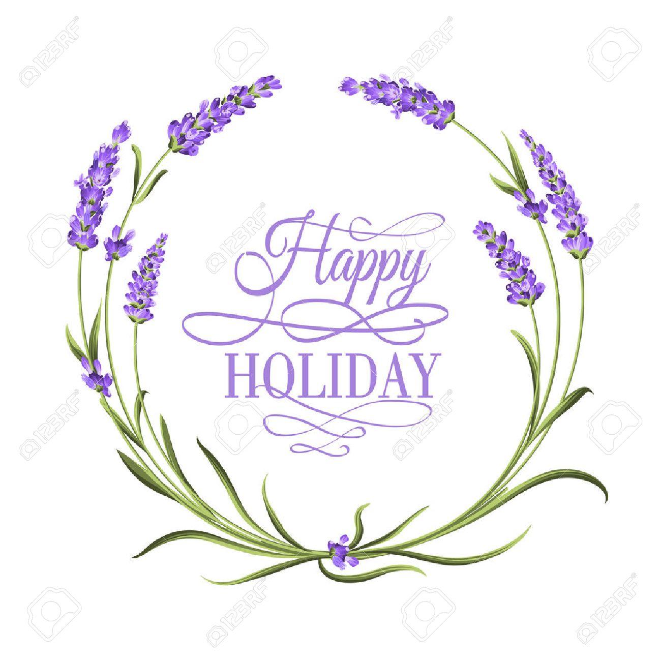 Der Lavendel Eleganten Rahmen Mit Blumenstrauß Und Text ...
