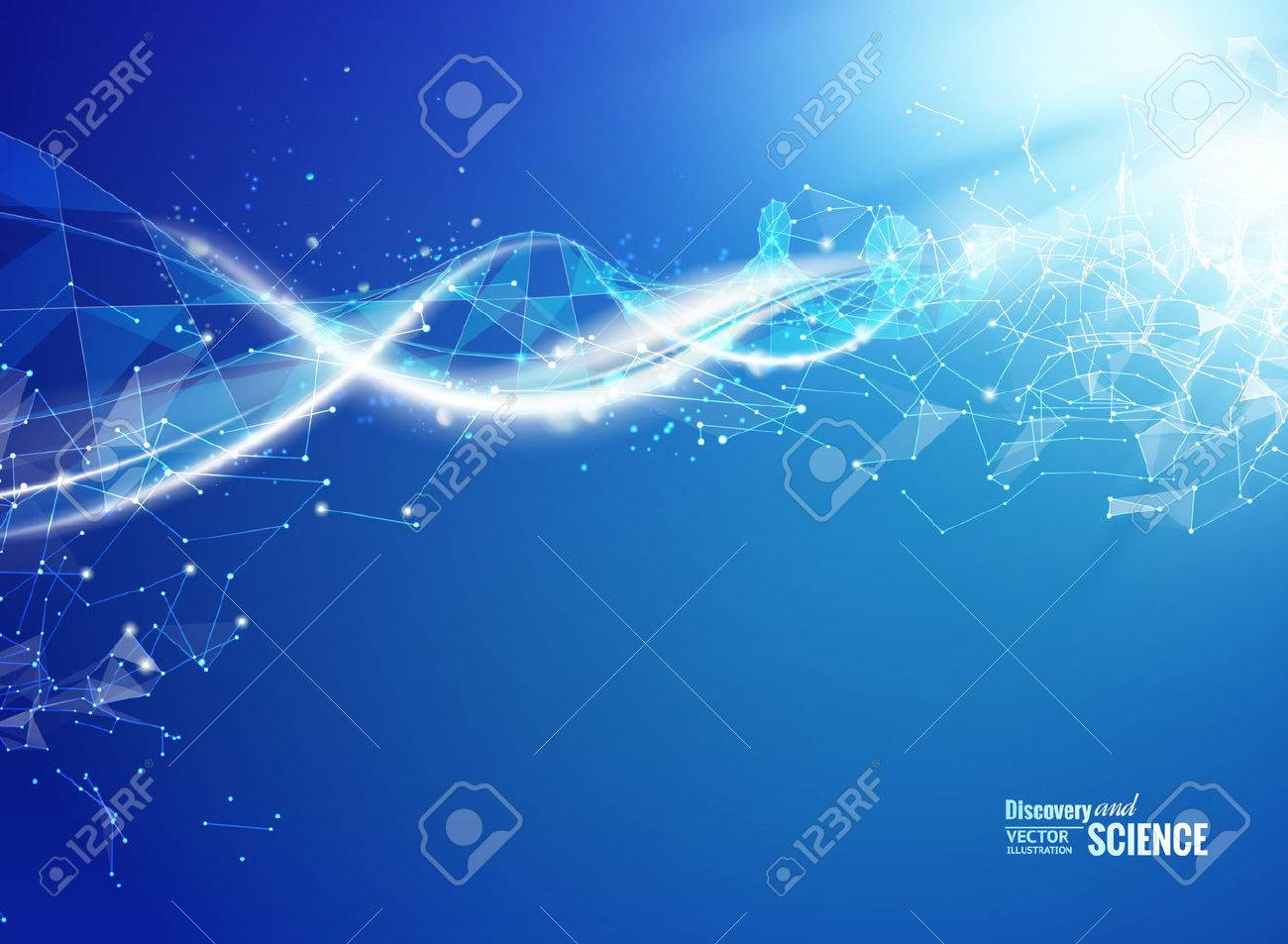 Blue background with DNA. Blue background and abstract molecular connection with DNA molucule. Vector illustration. - 50920125