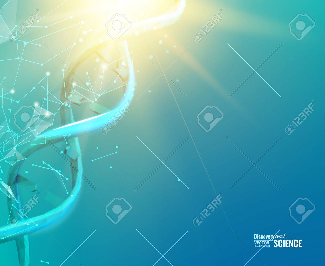 Science concept image of human hand touching DNA. Vector illustration. - 51374977