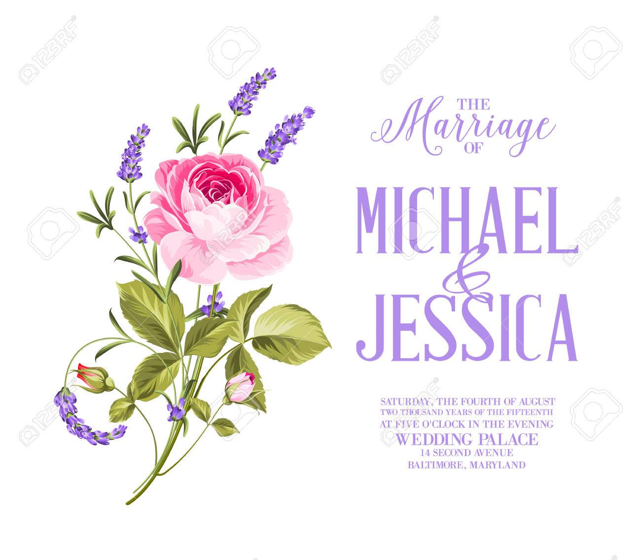 Awesome Vintage Card Of Color Flowers. Wedding Invitation Card ...