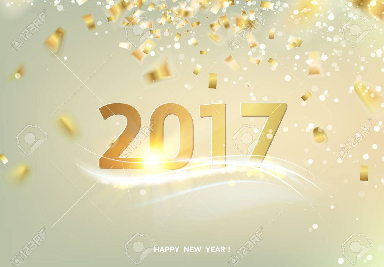 happy new year card over gray background with golden sparks golden confetti falls on the