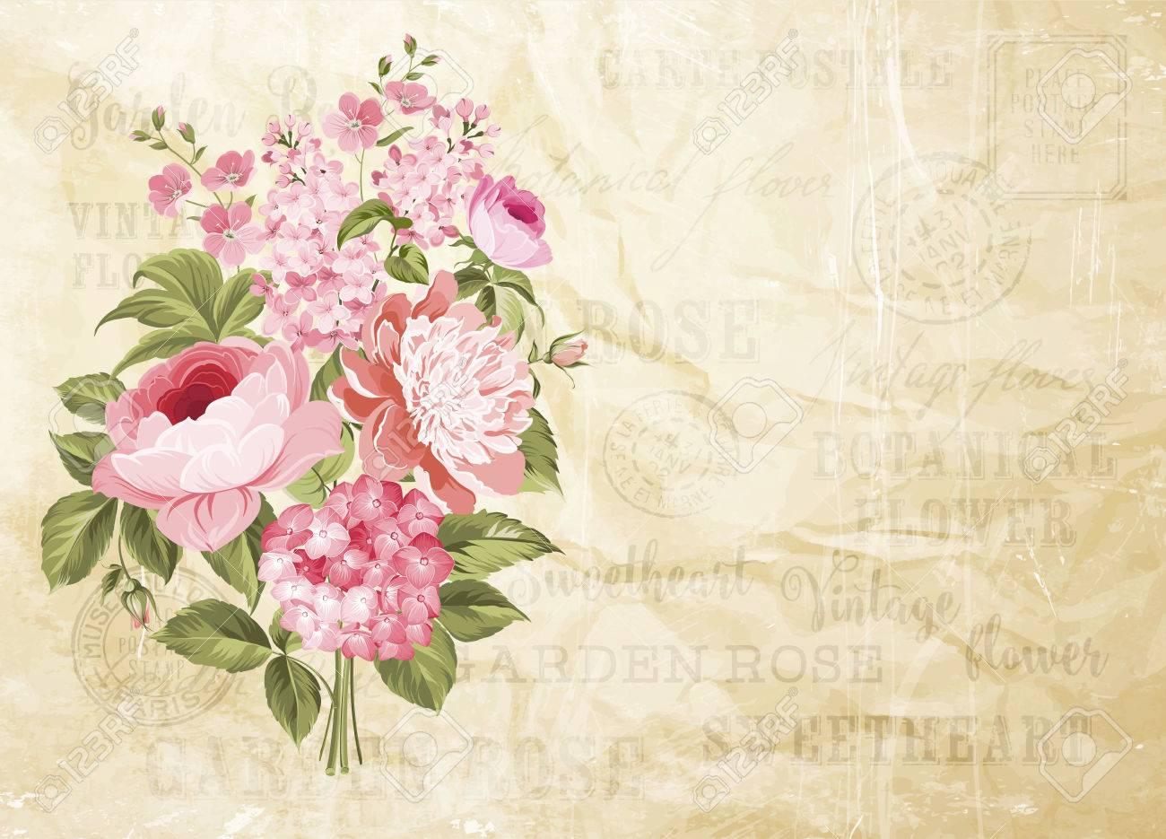 Blumengirlande Fur Einladungskarte Kartenschablone Mit Bluhenden