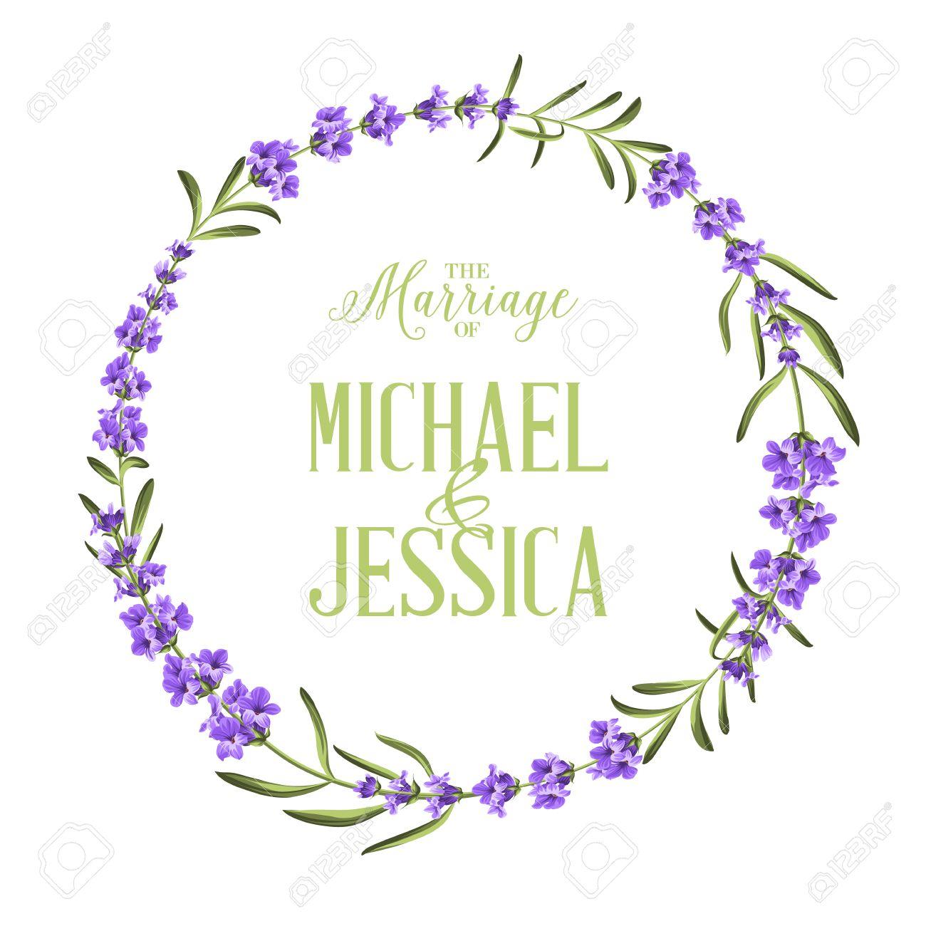 Kreisrahmen Von Lavendelblüten. Einfache Ehe Einladung ...
