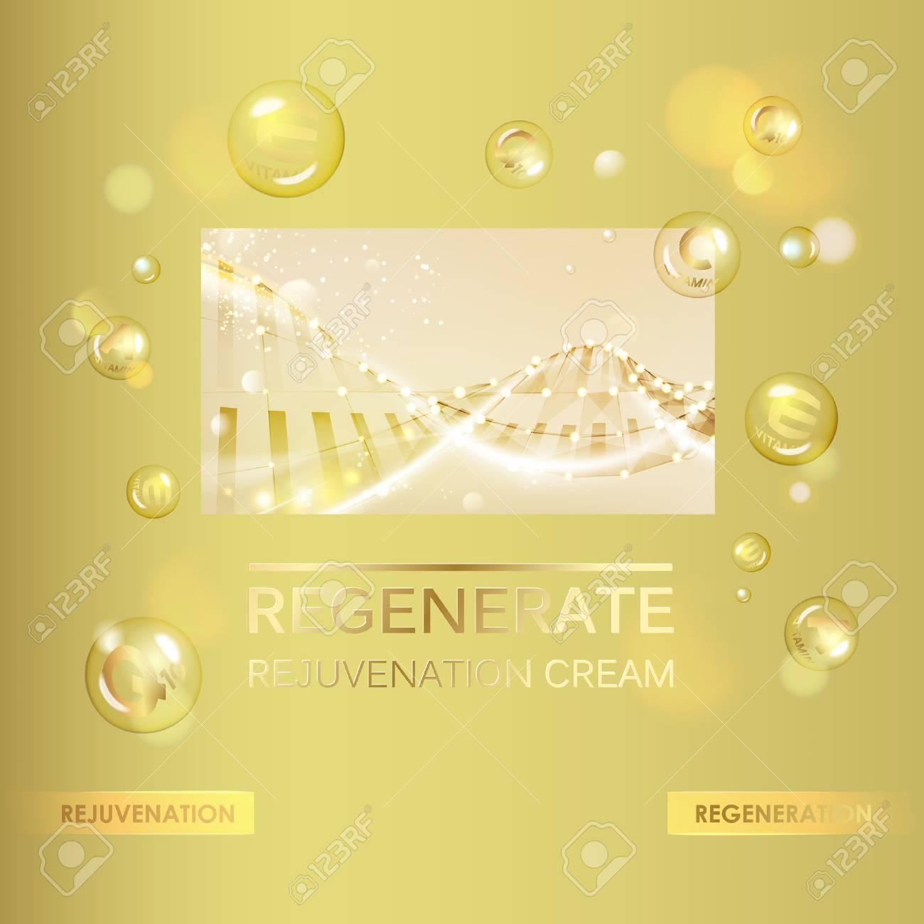 Collagen cream and Vitamin Drop of Concept Skin Care Cosmetic. Vitamin E drop with white sphere. Beauty treatment nutrition skin care design. Vector illustration. - 60174066