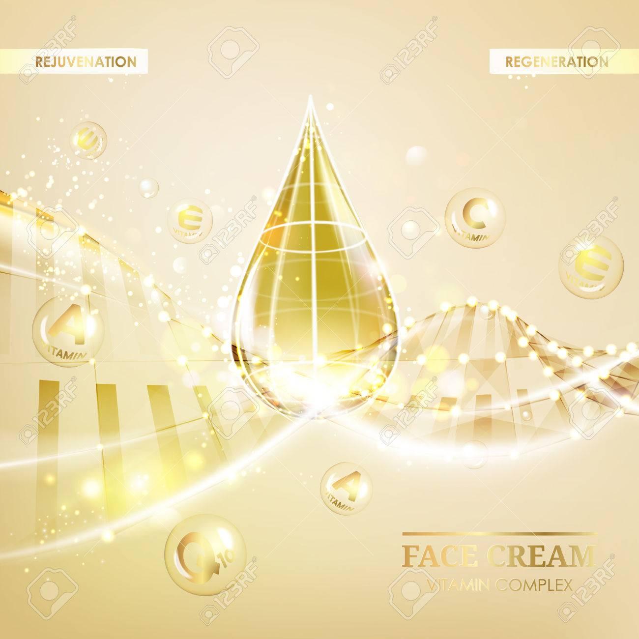 Regenerate face cream and Vitamin complex concept. Shining golden essence droplet. Vitamin E drop in form of sphere. Beauty skin care design over golden backdrop. Vector illustration. - 60175705