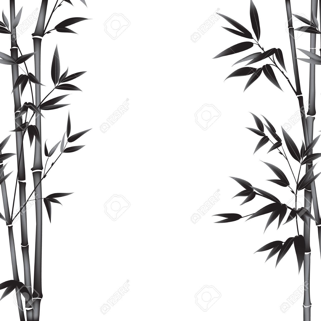 Elegant Bambus Busch Malerei Auf Weißem Hintergrund. Blätter Von Bambus Baum Als  Symbol Japans Kultur
