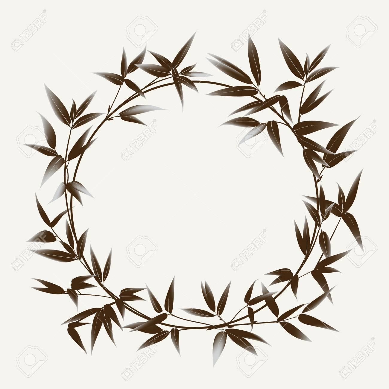 Bambus Busch Malerei Auf Weißem Hintergrund. Blätter Von Bambus Baum Als  Symbol Japans Kultur