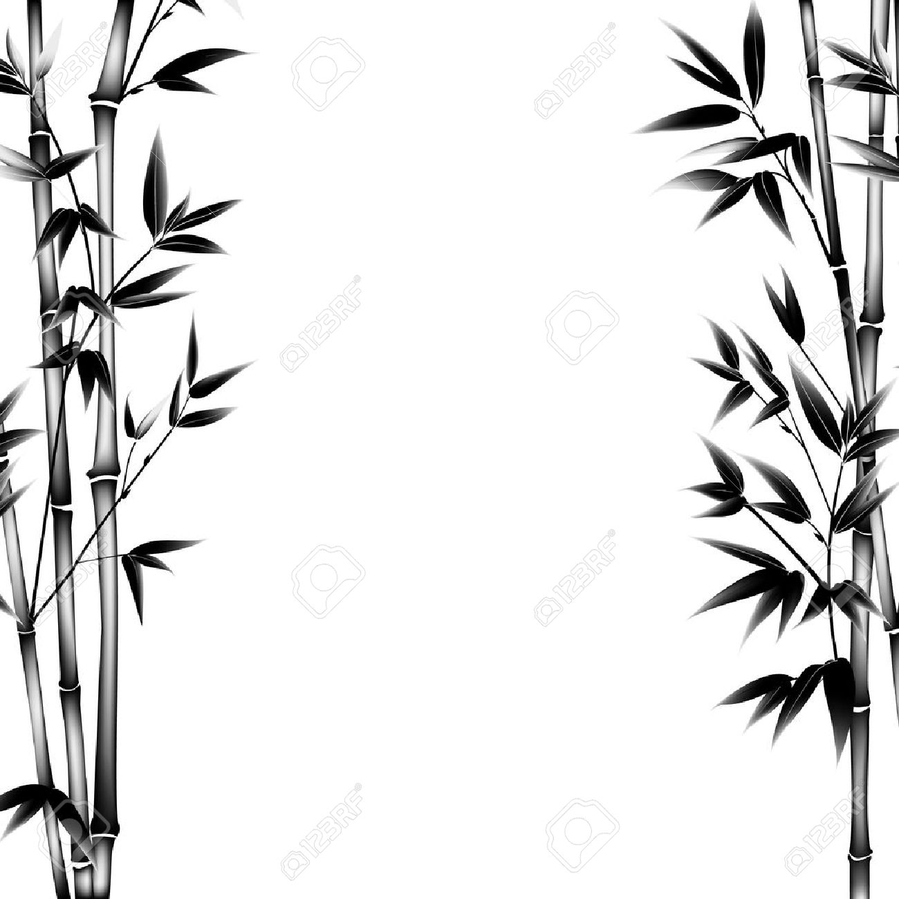 ink paint bamboo bush decorative bamboo branches card with