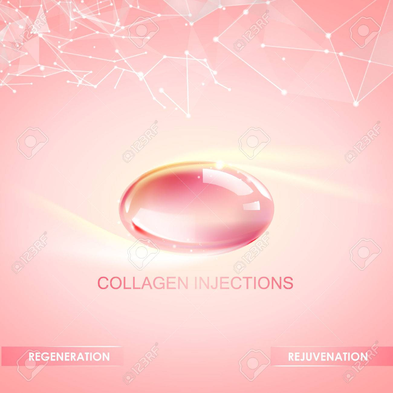 Collagen natural product label design for cosmetic surgery. Bright illustration over pink background. - 61113046