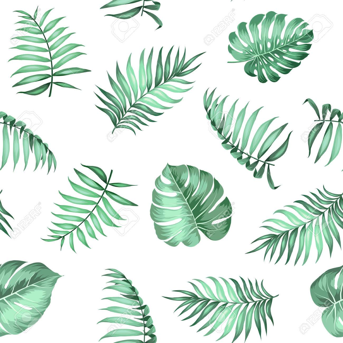 Topical palm leaves on seamless pattern for fabric texture. Vector illustration. - 61623961