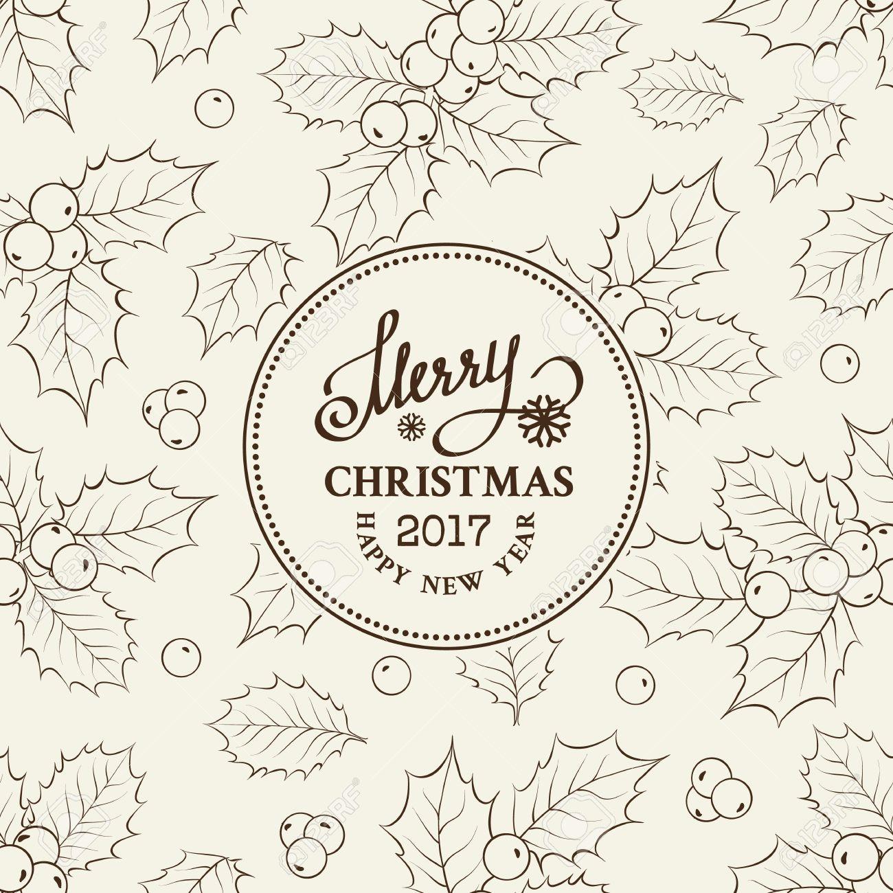 Dibujo De Línea De Muérdago De Navidad Sobre Marco De Círculo Con ...