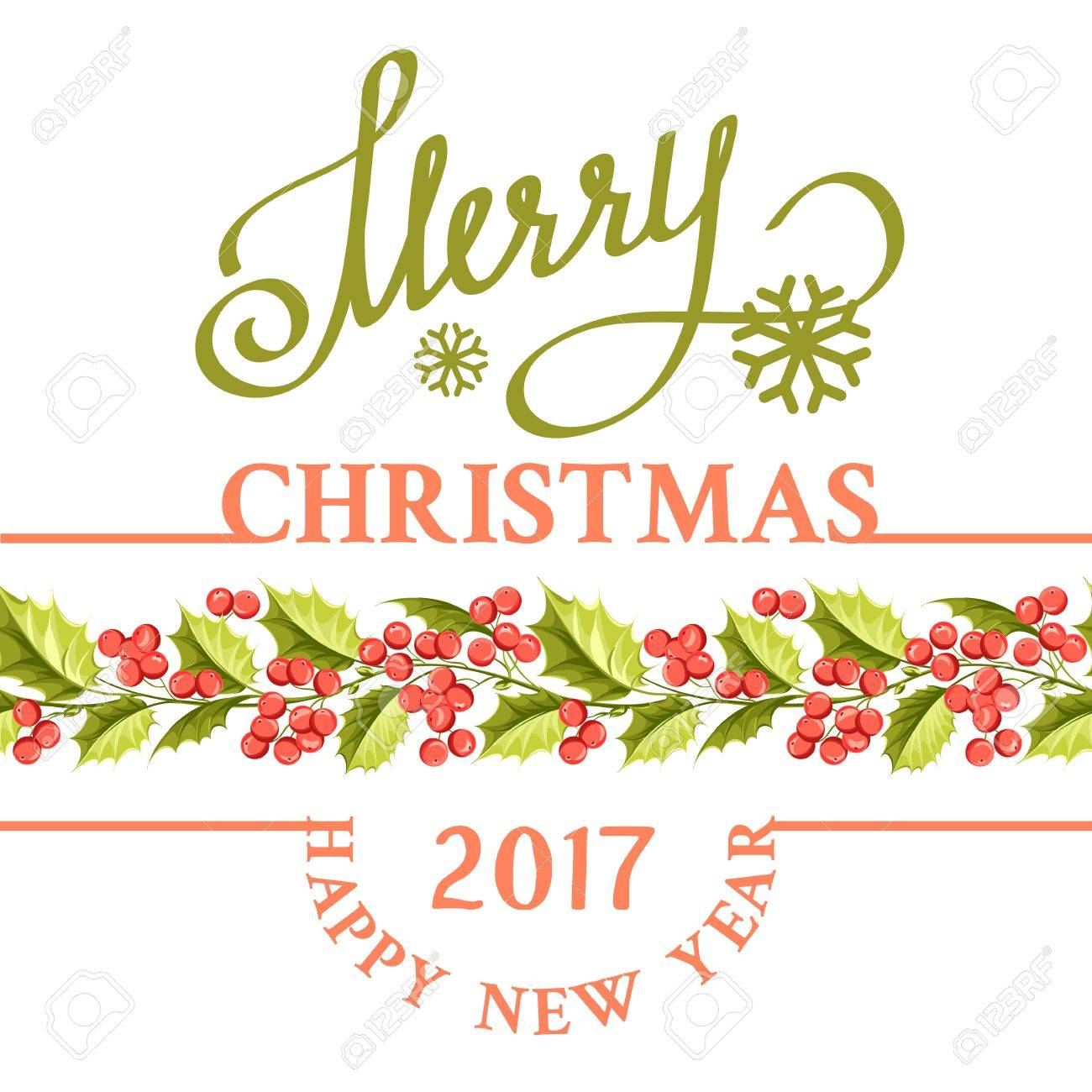 Christmas mistletoe holiday card with text happy new year 2017 christmas mistletoe holiday card with text happy new year 2017 christmas flower frame buycottarizona Image collections