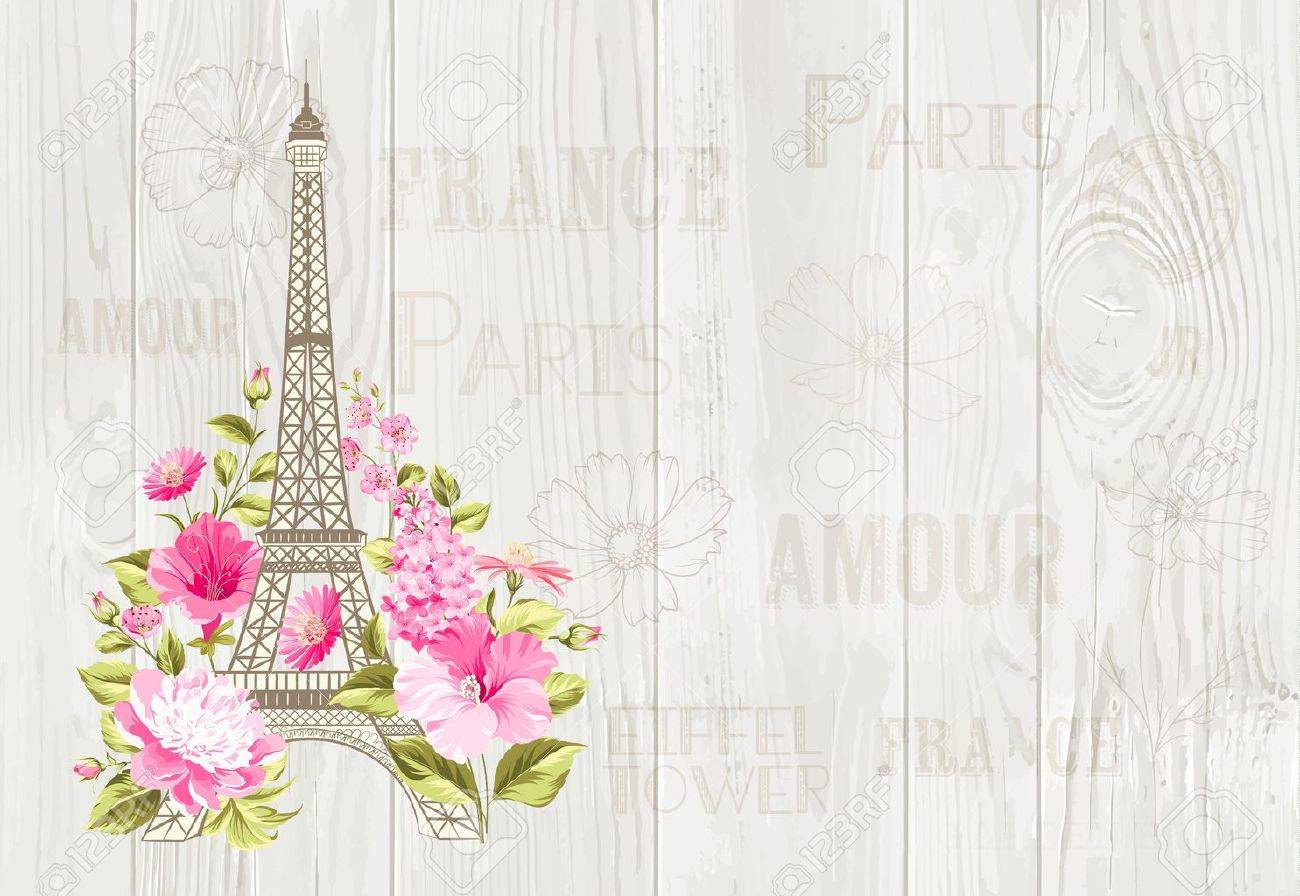 Eiffel tower icon with spring blooming flowers over gray text pattern with sign Paris souvenir. Vector illustration. - 64465197