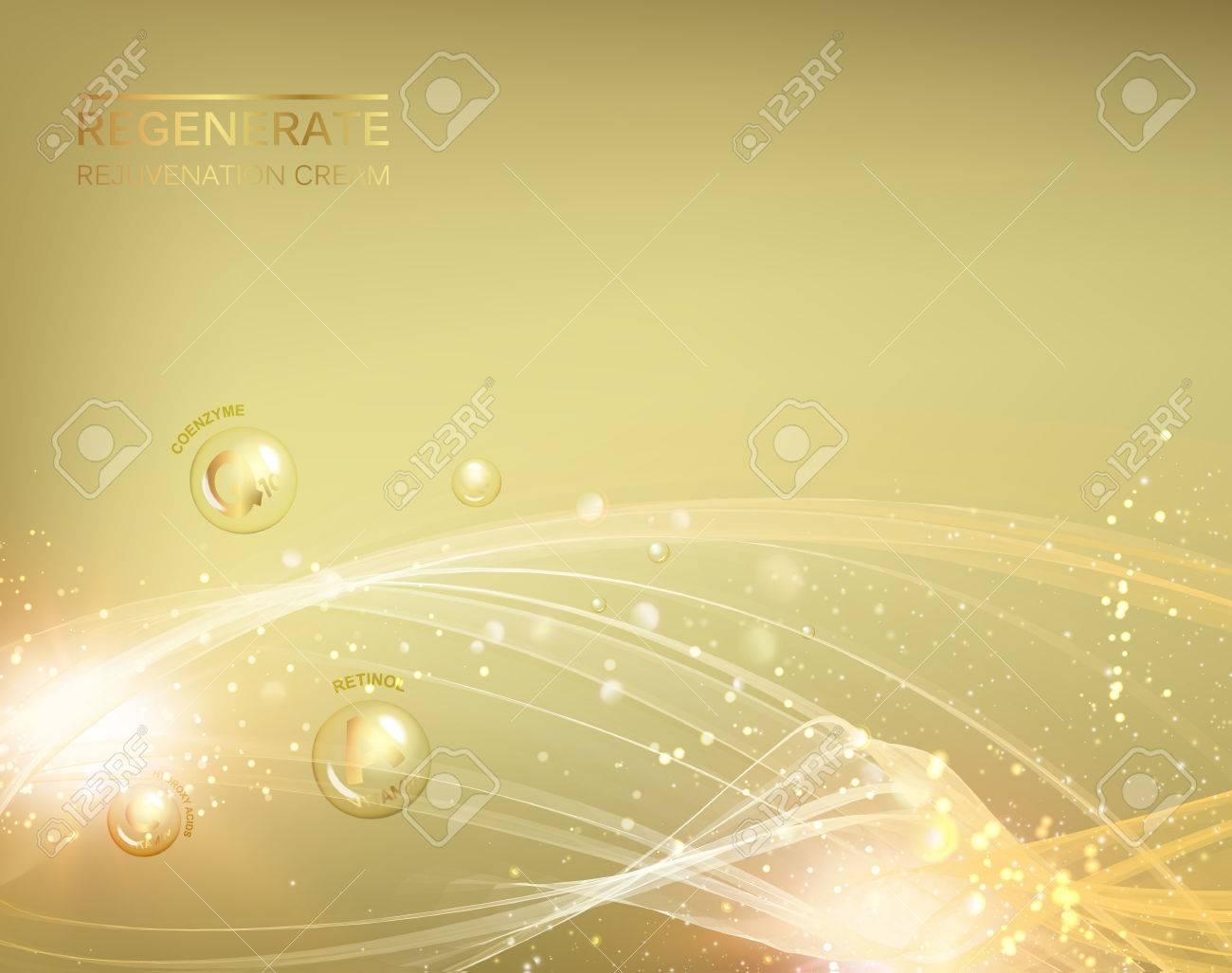 Science illustration of a cream molecule. Regenerate face cream and Vitamin complex concept. Organic cosmetic and skin care cream. Beauty skin care design over golden background. Vector illustration. - 64465230