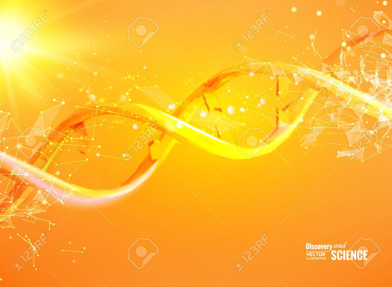 Science template for your card, orange wallpaper or banner with a DNA molecules of polygons. Wire-frame mesh polygonal element. Glow light futuristic background. Vector illustration. - 64465233