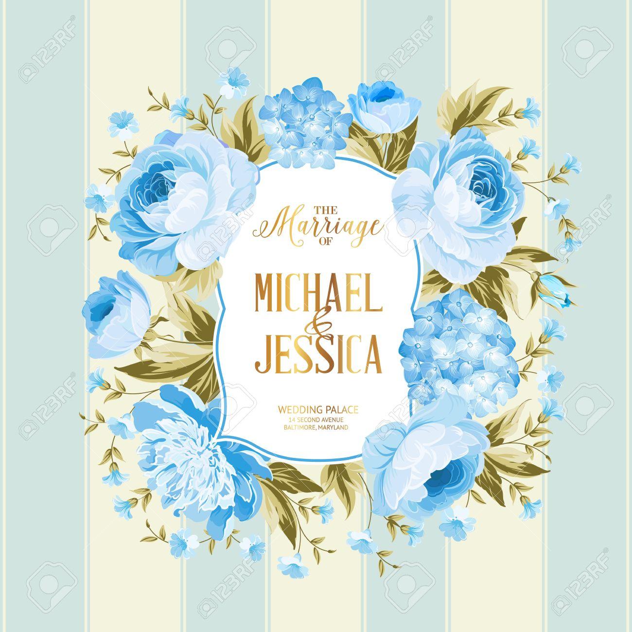 La Carte De Mariage Mariage Modele De Carte D Invitation Border De Fleurs Bleues Dans Le Style Vintage Mariage Carte D Invitation Avec Le Signe