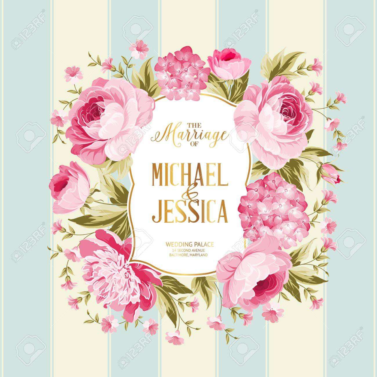 The marriage card wedding invitation card template frame of the marriage card wedding invitation card template frame of red flowers in vintage style stopboris Images