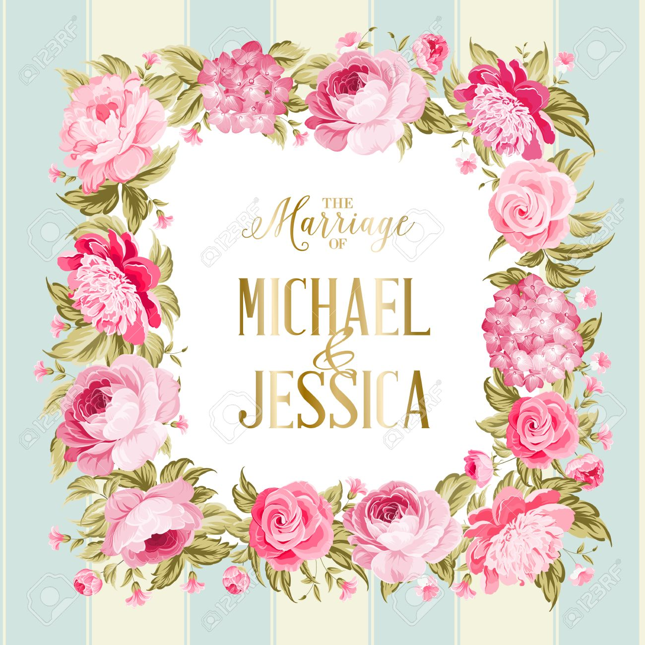 The Marriage Card Wedding Invitation Card Template Border Of
