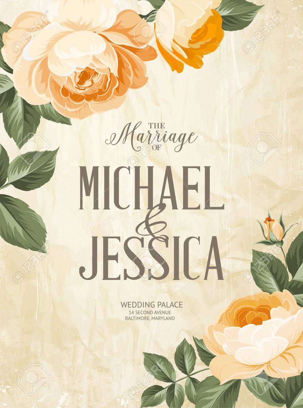 Heirat Einladungskarte Mit Benutzerdefinierten Zeichen Und Bluhenden